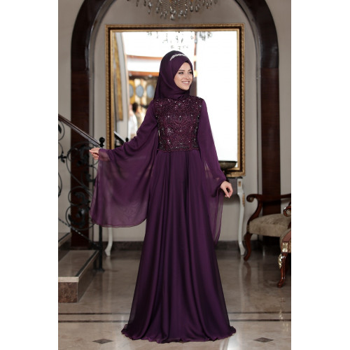 Gozde - Evening Dress - Plum