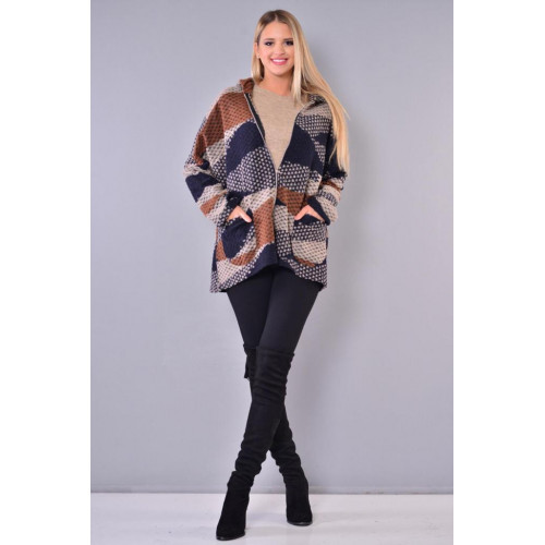 Colorful Hooded Short Felt Coat
