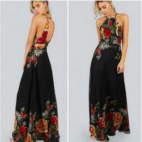 Flower Patterned Black Dress