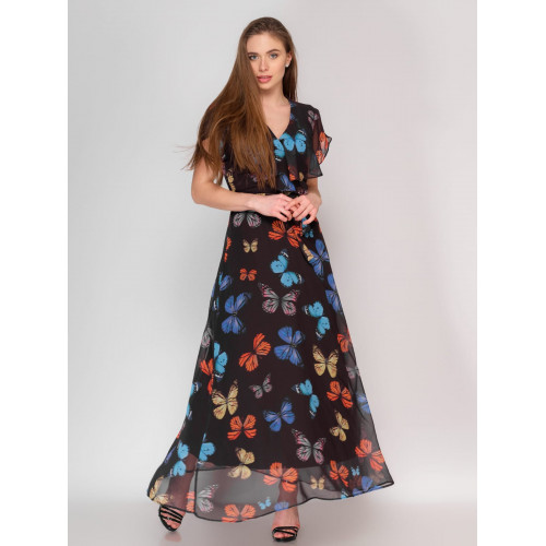 Butterfly Patterned Black Long Chiffon Dress