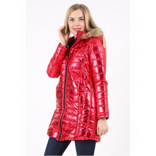 Women Metallic Red Long Inflatable Coats
