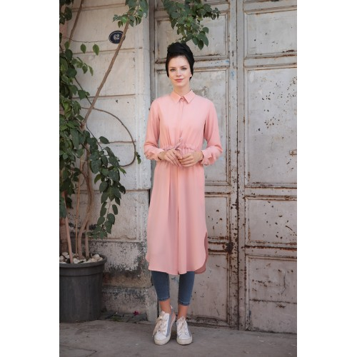 Powder Color Waist-laced Tunic