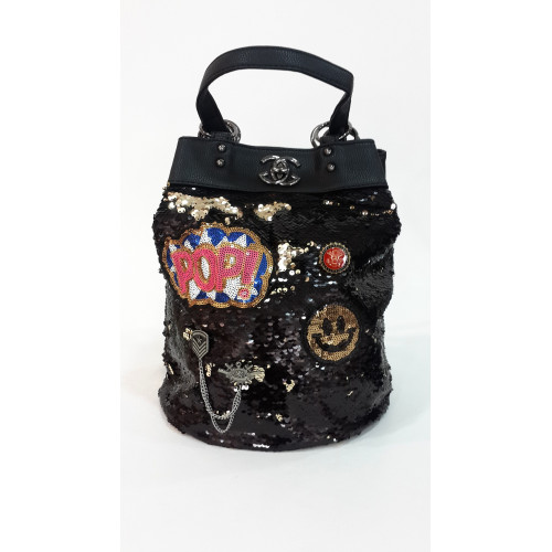 Metallic Black Sequins Sequined Backpack