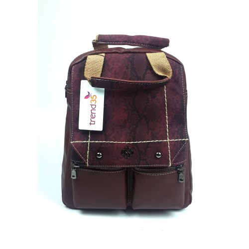 Snakeskin Patterned Backpack - Claret Red