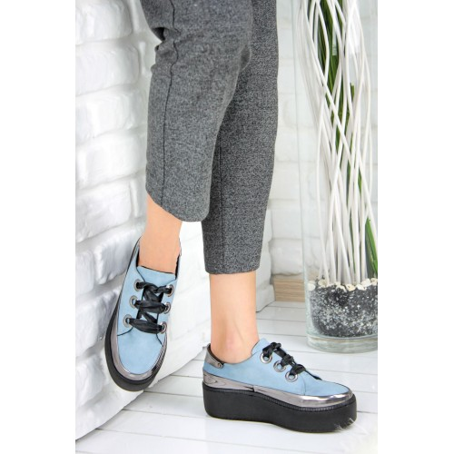 Baby Blue Woman Suede Shoes