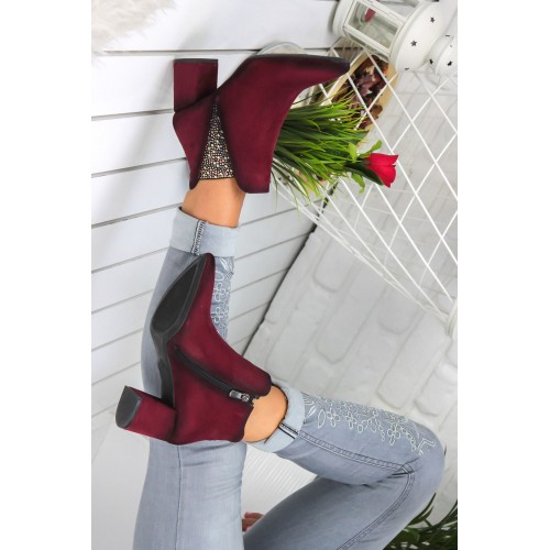 Claret Red Suede Boots