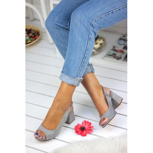 Woman Grey Suede Casual Shoes