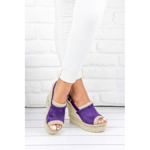 Purple Suede Wedges Shoes