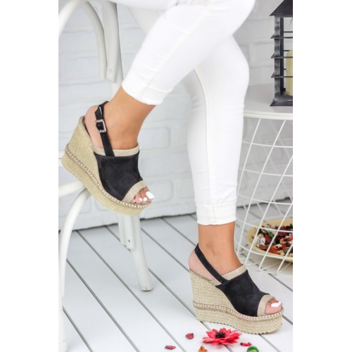 Black Suede Wedges Shoes