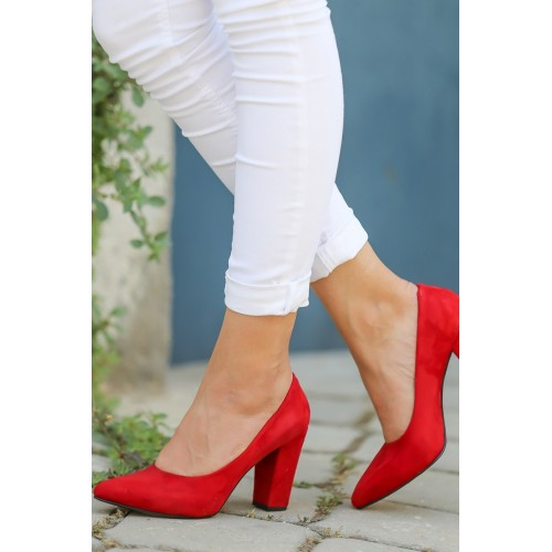 Red Suede Heeled Shoes