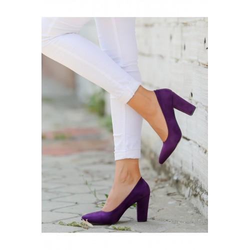 Purple Suede Heeled Shoes