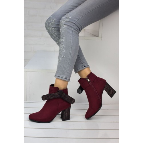 Woman Claret Red Suede  Boots
