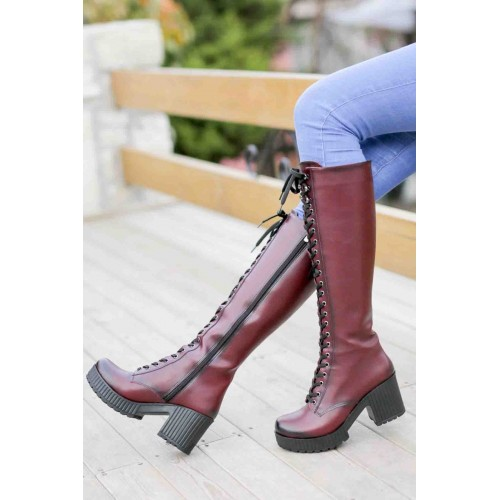 Claret Red High Boots