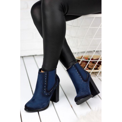 Navy Blue Suede Boots