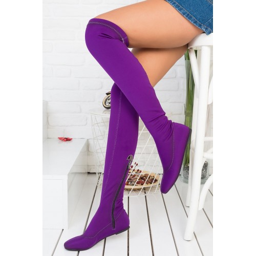 Purple Suede High Boots