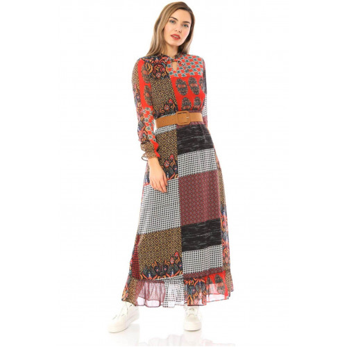 Pachwork  Long Chiffon Dress