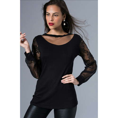 Sleeves Tulle Black Blouse