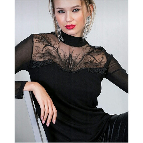 Organza Tulle Embroidery Detail Black Blouse