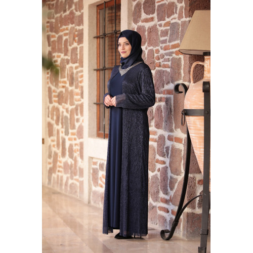 Hurrem Hijab Dress - Navy Blue