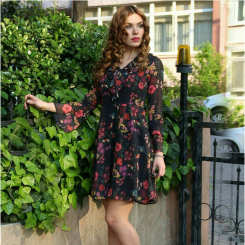 Floral Pattern Chiffon Dress