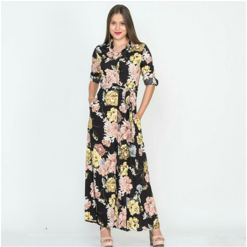 Flower Patterned Long Black Shirt Dress