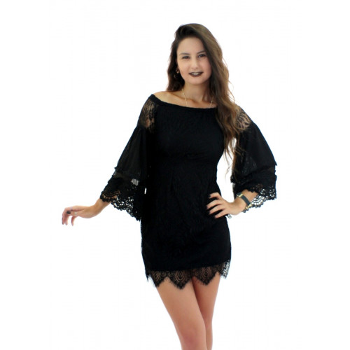 Lace Mini Dress - Black