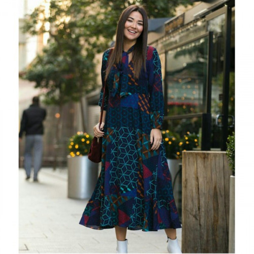 Collar Detailed Lining Chiffon Dress