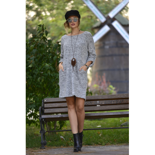 Wool Viscose Gray Short Dress