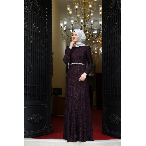 Purple Muslim Evening Dress