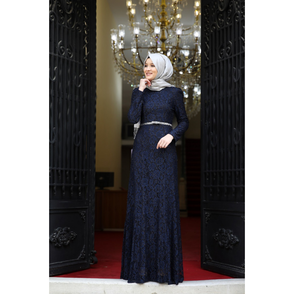 c2d2dd43d2520 Navy Blue: Muslim - Evening Dress - Hijab Dress - Trend 35