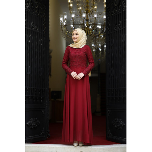 Swan Evening Dress - Bordeaux