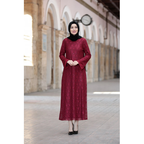 Lace Evening Dress - Burgundy