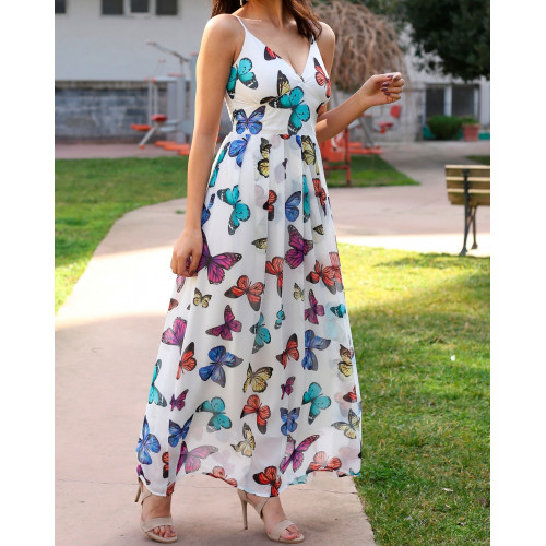 Butterfly Patterned Ecru Long Chiffon Dress