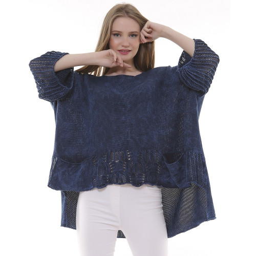 Navy Blue Patterned Knitwear Authentic Blouse