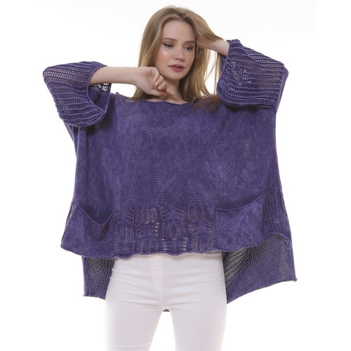 Purple Patterned Knitwear Authentic Blouse