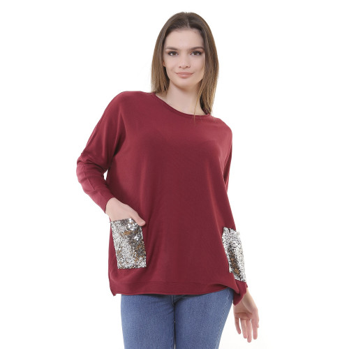 Sequined Knitwear Blouse - Brick Color