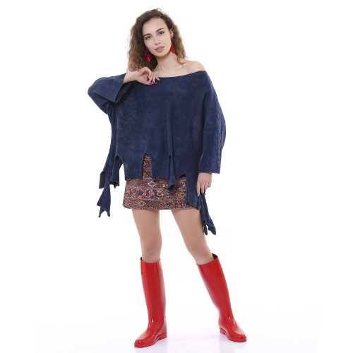 Fringed Authentic Knitwear Blouse - Navy Blue
