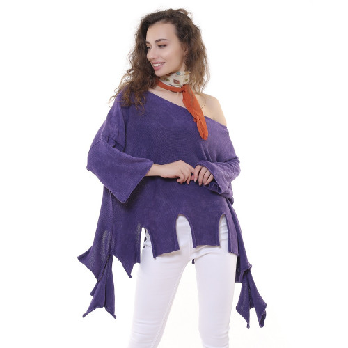 Fringed Authentic Knitwear Blouse - Purple