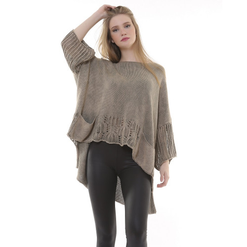 Stone Color Patterned Knitwear Authentic Blouse