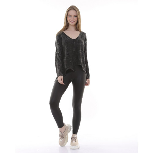 V Neck Tricot Authentic Blouse - Anthracite