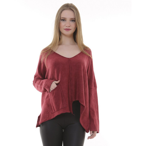 V Neck Tricot Authentic Blouse - Bordeaux