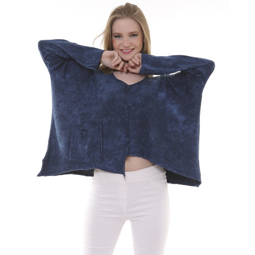 V Neck Tricot Authentic Blouse - Navy Blue