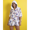 White Floral Patterned Hooded Jacket