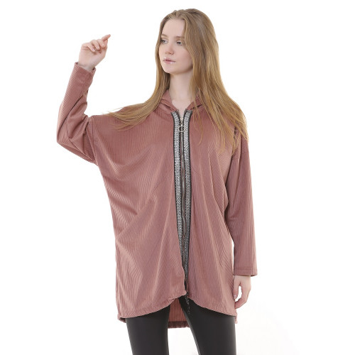 Hooded Dried Rose Corduroy Jacket - Long