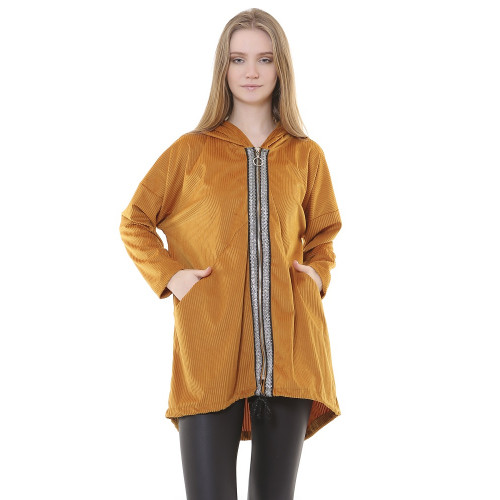 Hooded Mustard Corduroy Jacket - Long