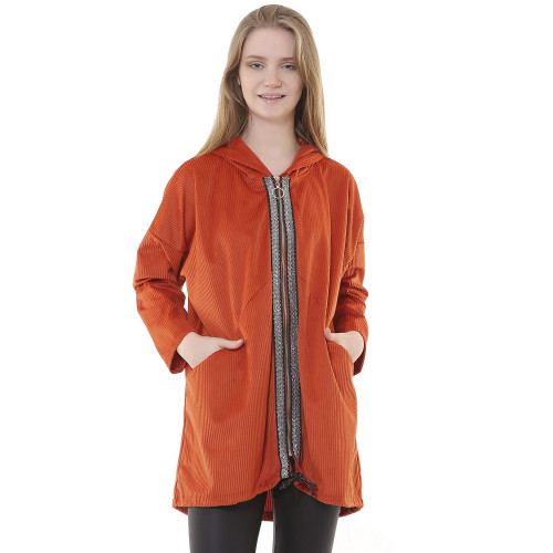 Hooded Cinnamon Corduroy Jacket - Long