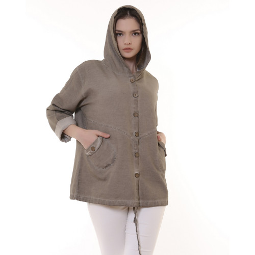 Hooded Buttoned Gabardine Jacket - Stone Color