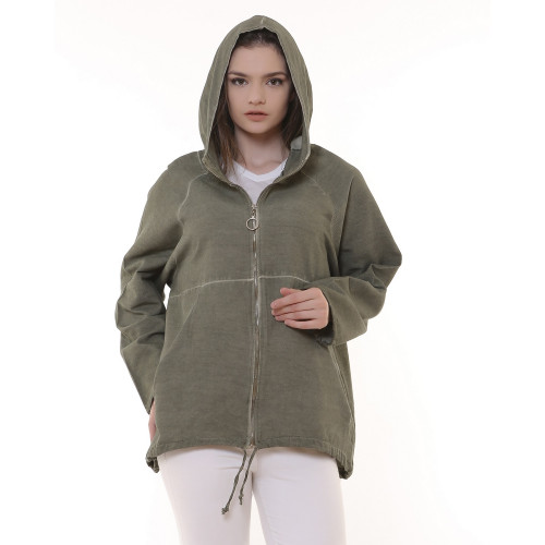Hooded Zippered Gabardine Jacket - Khaki