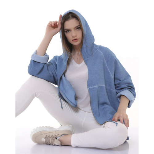 Hooded Zippered Gabardine Jacket - Jeans Blue