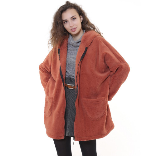 Hooded Plush Jacket - Cinnamon